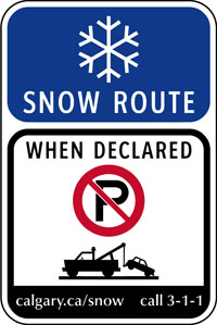 A photo of a snow route sign.